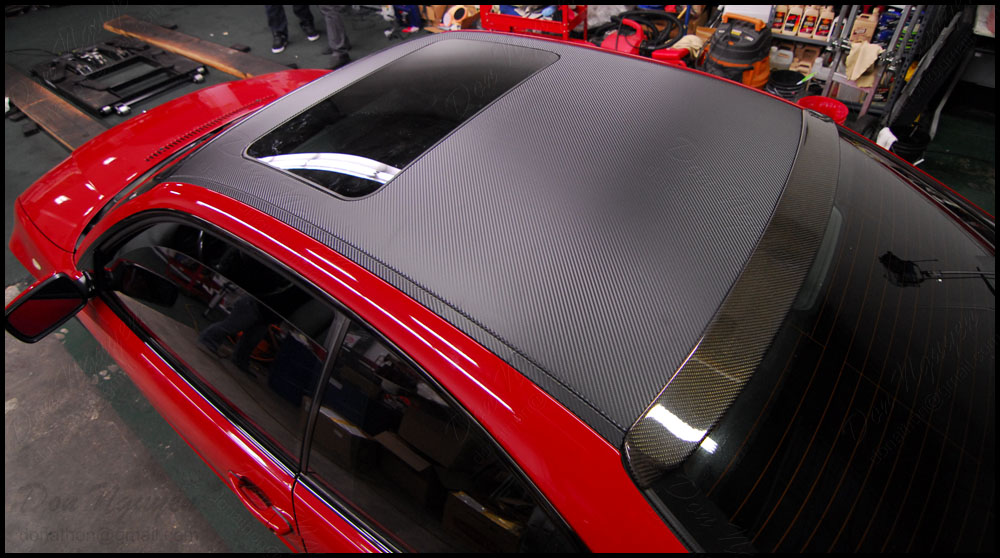 Gloss Matte Black And Carbon Fiber Roof Vinyl Wrap