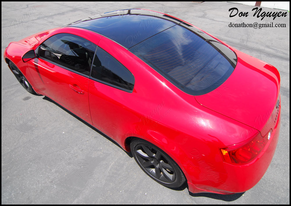 Don Nguyen Gloss Black Vinyl Roof Wrap On Red G35