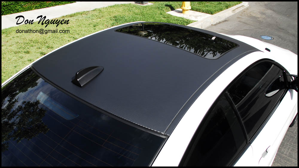 Gloss Matte Black And Carbon Fiber Roof Vinyl Wrap